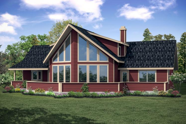 A-Frame House Plan - Alpenview 76458 - Rear Exterior