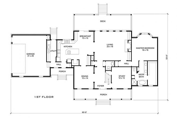 Country House Plan - Cibolo 76459 - 1st Floor Plan