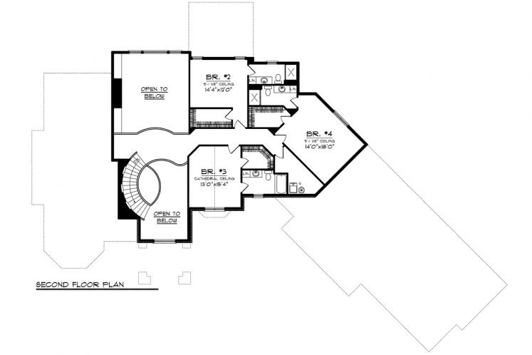 Country House Plan -  76723 - 2nd Floor Plan