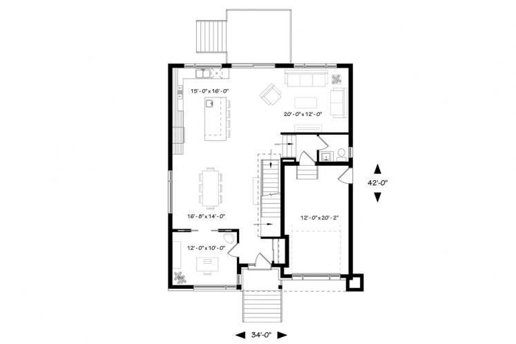 Modern House Plan - Corbusier 76798 - 1st Floor Plan