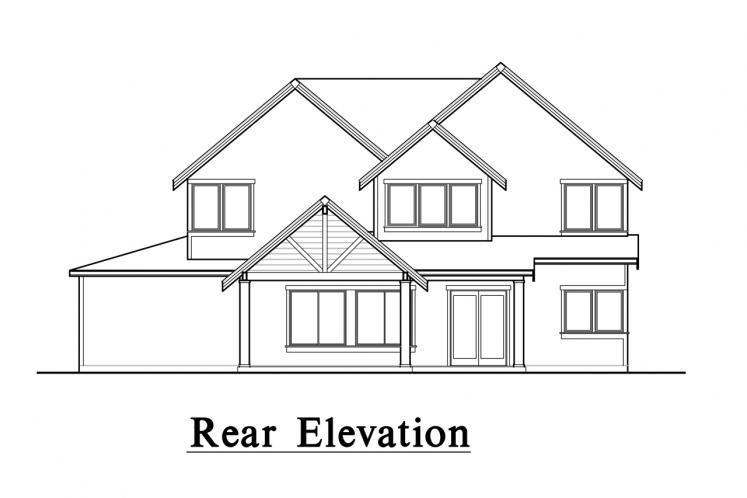 Lodge Style House Plan -  77084 - Rear Exterior