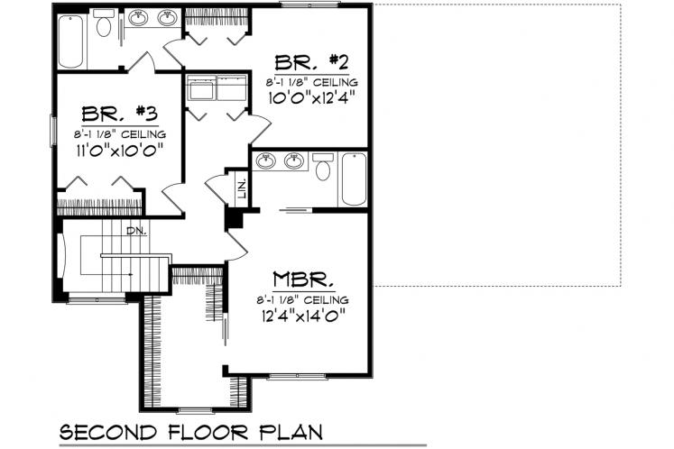 Traditional House Plan -  77255 - 2nd Floor Plan