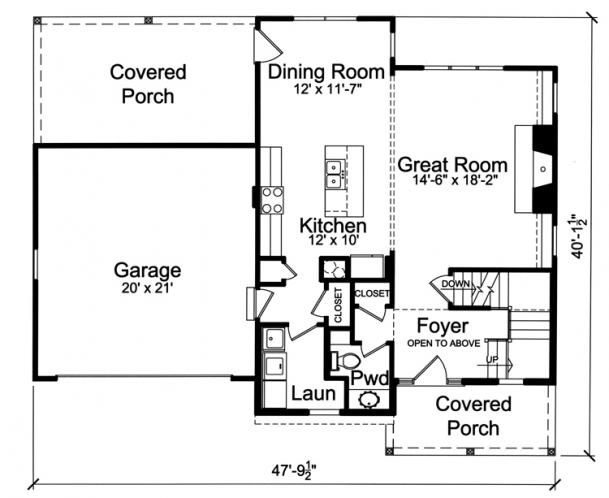 Traditional House Plan - Woodstone 77269 - 1st Floor Plan