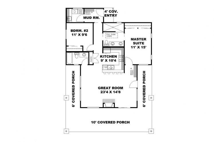 Traditional House Plan -  77305 - 1st Floor Plan