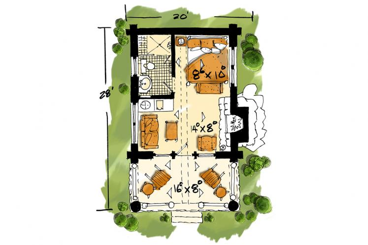 Lodge Style House Plan - Honey Bear 77306 - 1st Floor Plan