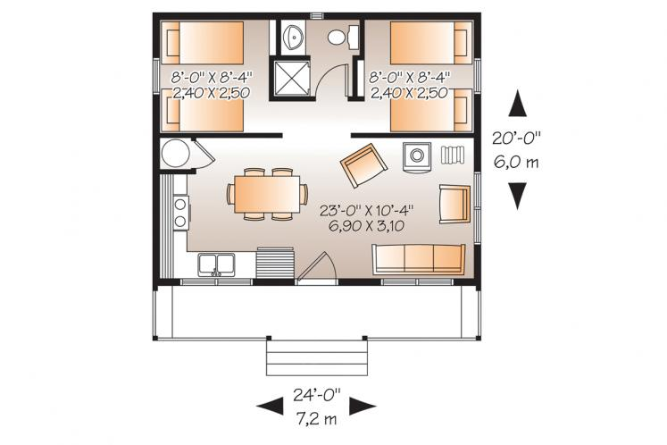 Cottage House Plan - Great Escape 77337 - 1st Floor Plan