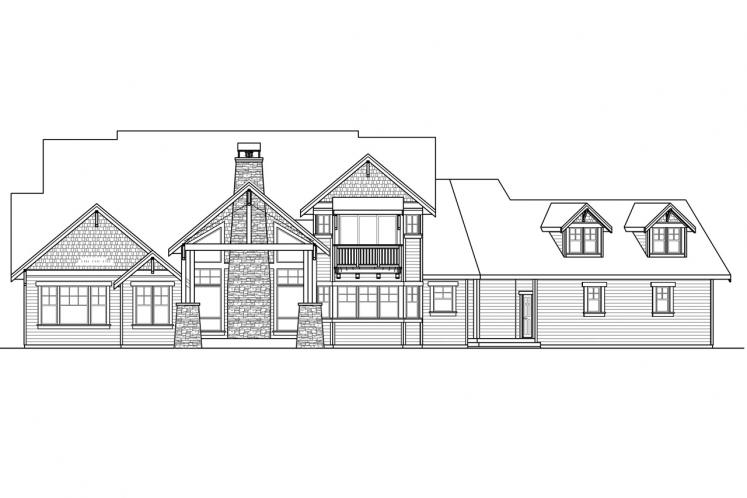Bungalow House Plan - Timberline 77358 - Rear Exterior