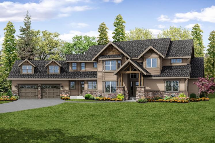 Lodge Style House Plan - Timberline 77358 - Front Exterior