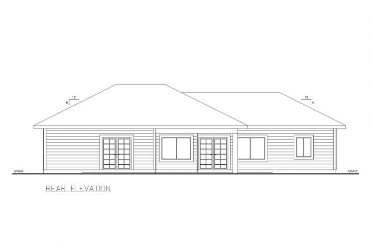 Traditional House Plan -  77362 - Rear Exterior