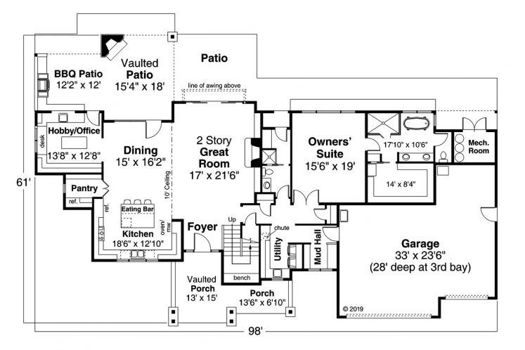 Country House Plan - Eatonville 77665 - 1st Floor Plan