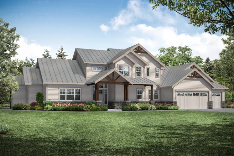Lodge Style House Plan - Eatonville 77665 - Front Exterior
