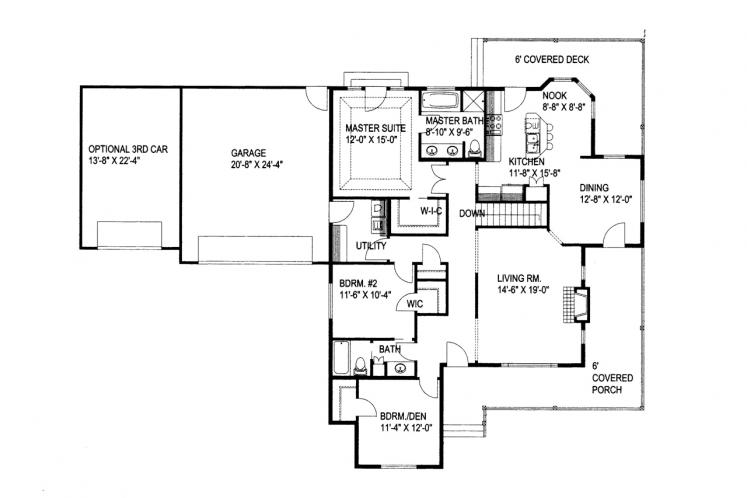 Country House Plan -  77714 - 1st Floor Plan
