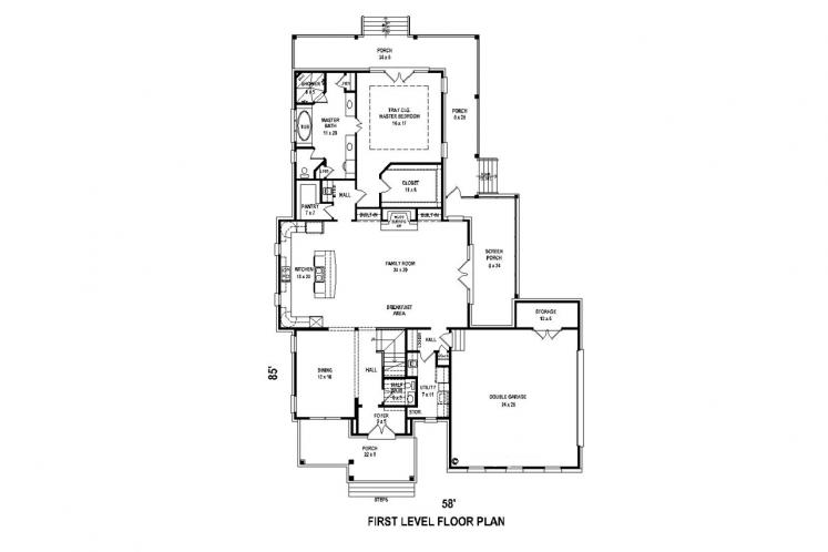Country House Plan -  77938 - 1st Floor Plan