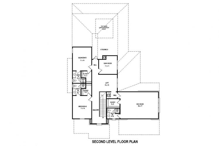 Traditional House Plan -  77938 - 2nd Floor Plan