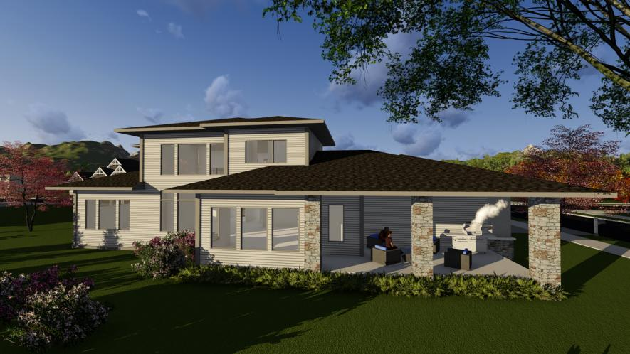 Prairie House Plan -  77958 - Rear Exterior