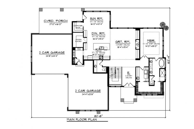 Contemporary House Plan -  77958 - 1st Floor Plan