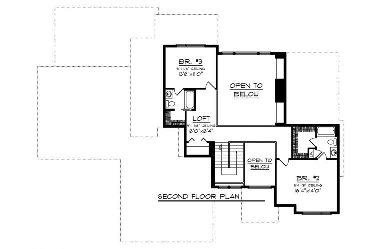 Modern House Plan -  77958 - 2nd Floor Plan