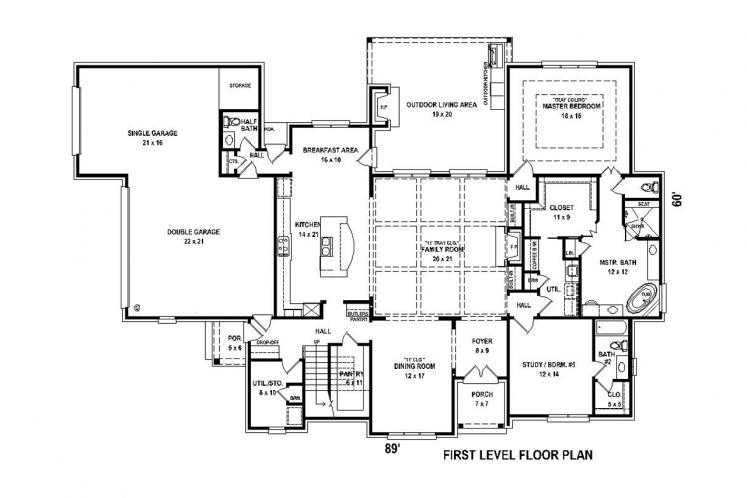 Classic House Plan -  78098 - 1st Floor Plan