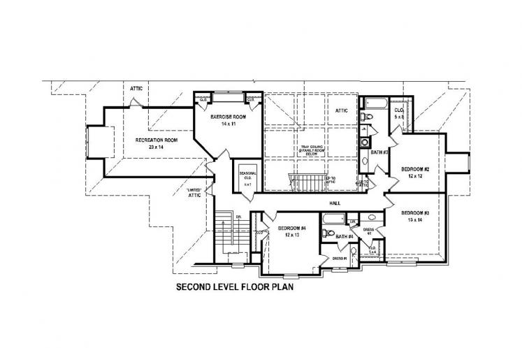 Traditional House Plan -  78098 - 2nd Floor Plan
