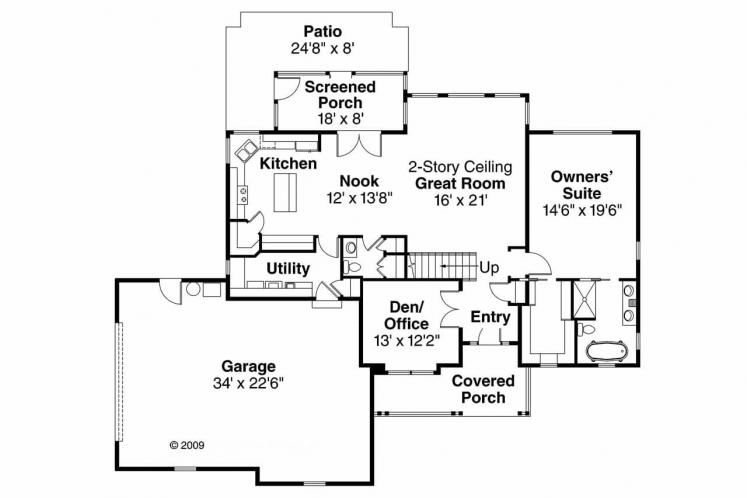 Cottage House Plan - Glendale 78141 - 1st Floor Plan