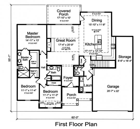 Ranch House Plan - Garden View 78224 - 1st Floor Plan