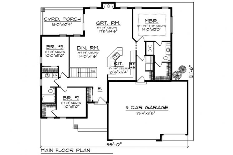 Ranch House Plan -  78225 - 1st Floor Plan