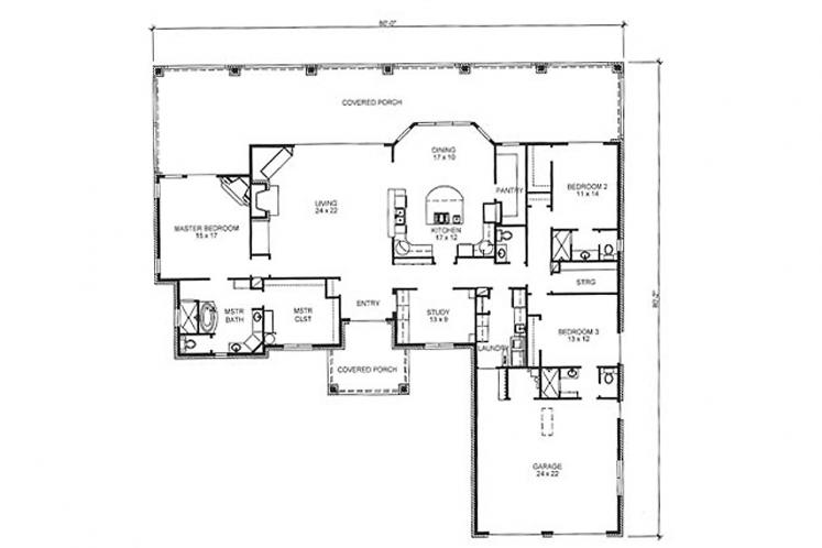 Country House Plan - Henderson 78366 - 1st Floor Plan