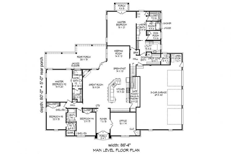Colonial House Plan -  78578 - 1st Floor Plan