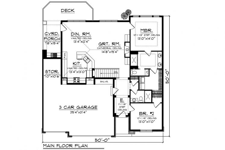 Traditional House Plan -  78589 - 1st Floor Plan