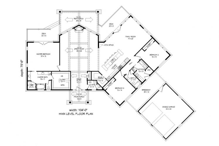 Lodge Style House Plan -  78645 - 1st Floor Plan