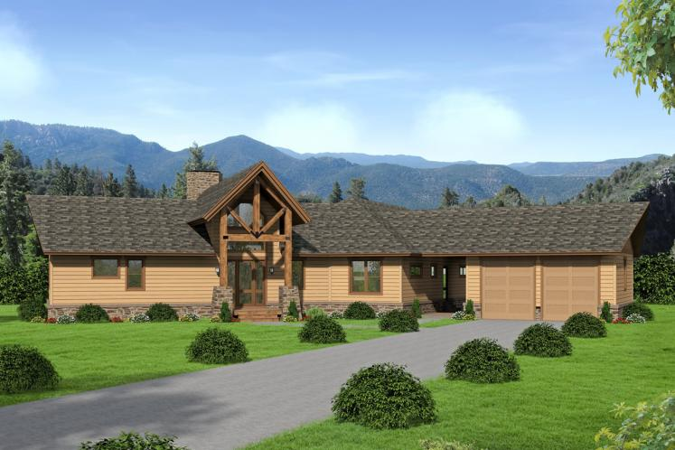 Lodge Style House Plan -  78645 - Front Exterior