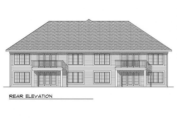 Country Multi-family Plan -  78784 - Rear Exterior
