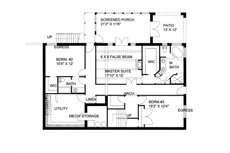 Mediterranean House Plan -  78900 - Basement Floor Plan