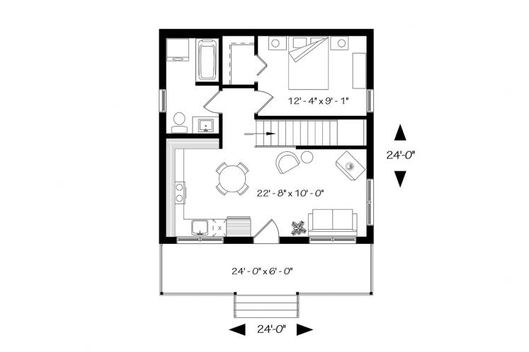 Cottage House Plan - Great Escape 2 79021 - 1st Floor Plan