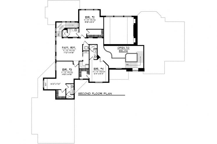 European House Plan -  79371 - 2nd Floor Plan