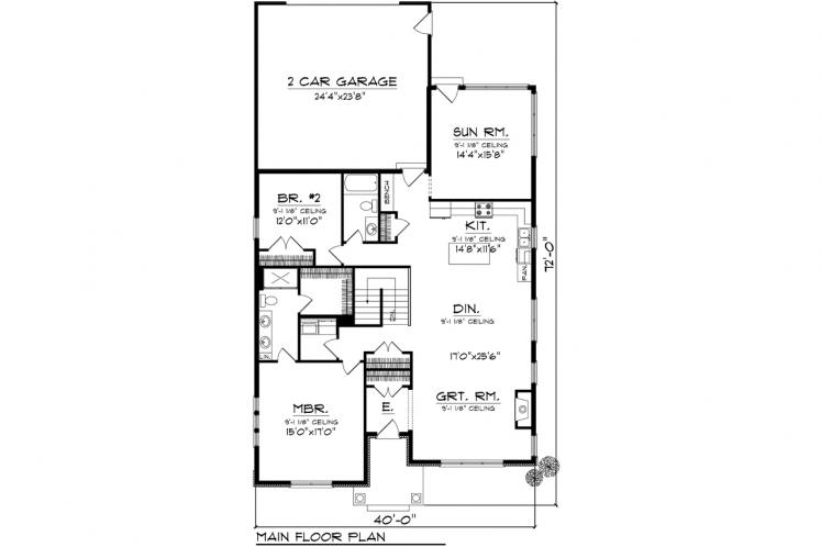 Ranch House Plan -  79445 - 1st Floor Plan