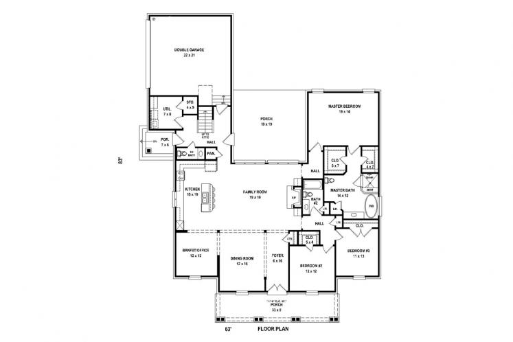 Country House Plan -  79592 - 1st Floor Plan
