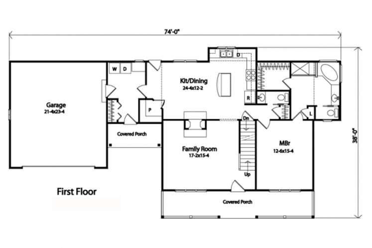 Country House Plan -  79684 - 1st Floor Plan