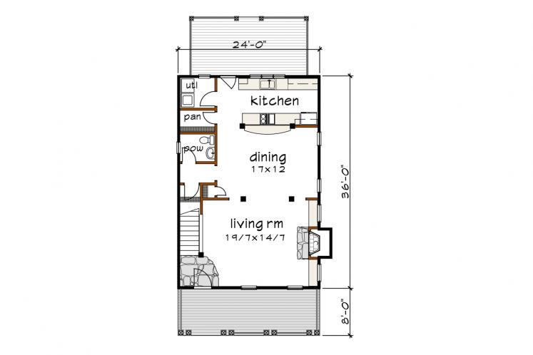 Country House Plan -  79797 - 1st Floor Plan