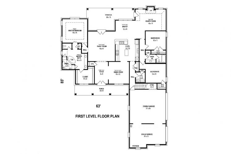 Traditional House Plan -  79805 - 1st Floor Plan