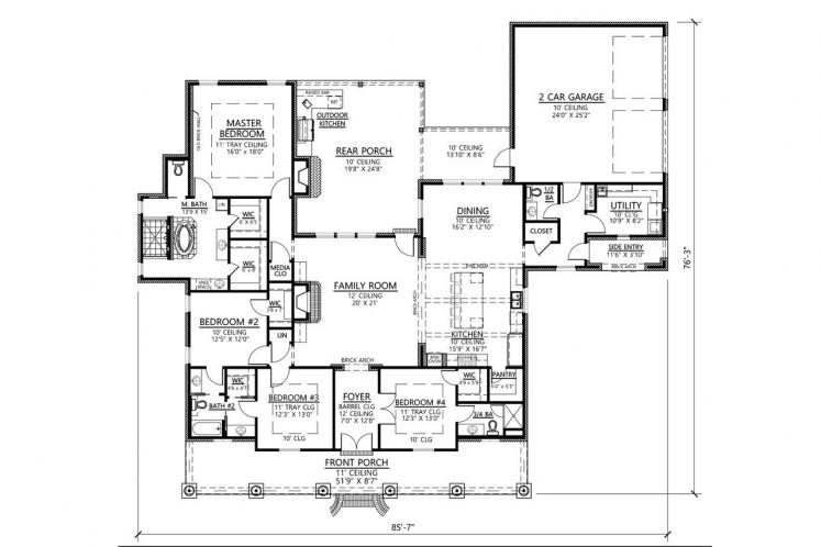 Classic House Plan - Oakmont 79925 - 1st Floor Plan
