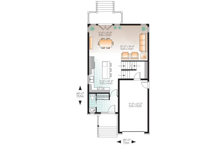 Modern House Plan - Stanton 2 79979 - 1st Floor Plan