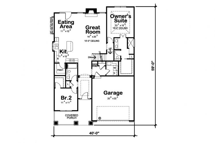 Cottage House Plan - Telluride Gable 80041 - 1st Floor Plan