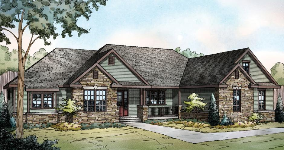 Ranch House Plan - Manor Heart 80138 - Front Exterior