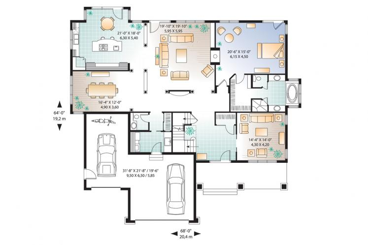 Traditional House Plan - East Lake 80477 - 1st Floor Plan