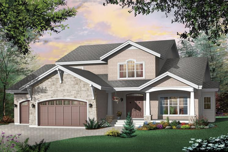Craftsman House Plan - East Lake 80477 - Front Exterior