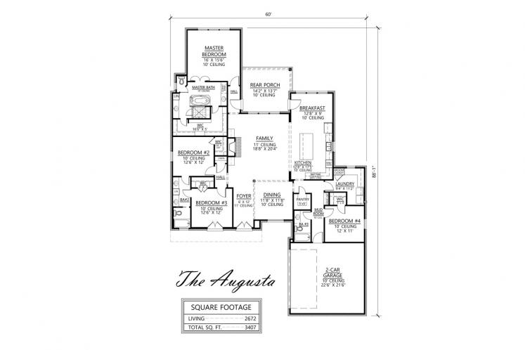 Southern House Plan - Augusta 80851 - 1st Floor Plan