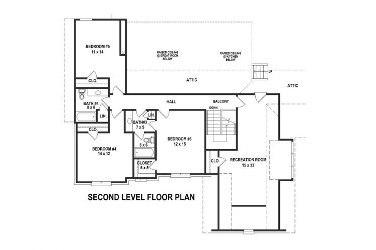 Southern House Plan -  80923 - 2nd Floor Plan