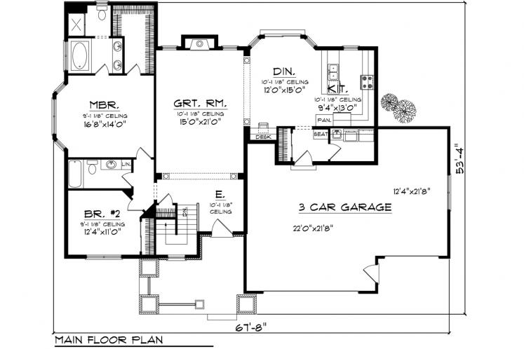 Traditional House Plan -  81023 - 1st Floor Plan