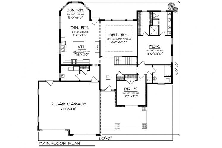 Ranch House Plan -  81737 - 1st Floor Plan